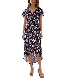 Juniors' Printed High-Low Dress