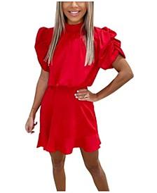High Neck Puff Sleeve Skater Dress