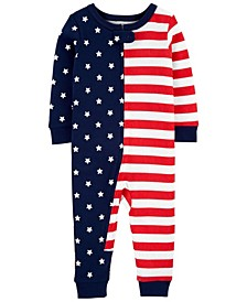 Toddler Boys and Girls 4th of July Snug Fit Cotton Footless Pajama