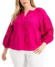 INC Plus Size Embroidered-Sleeve Blouse, Created for Macy's