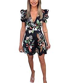 Tropic Print Puff Sleeve Skater Dress