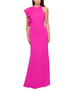 One-Shoulder Halter Gown
