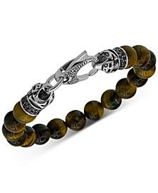 Men's Tiger's Eye Bead & Black Cubic Zirconia Bracelet in Stainless Steel & Black Ion-Plate (Also in Hematite)