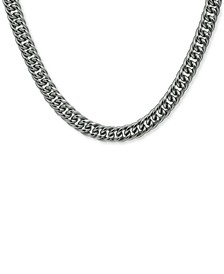 """Men's Flat Cuban Link 24"""" Chain Necklace in Stainless Steel"""