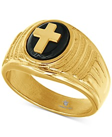 Men's Onyx Cross Ring in Gold-Tone Ion-Plated Stainless Steel