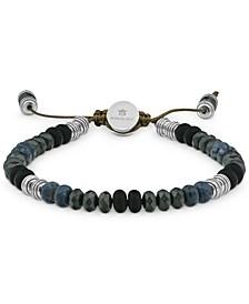Men's Lapis Lazuli, Hematite, & Onyx Beaded Bolo Bracelet in Stainless Steel (Also in Tiger's Eye & Pyrite)