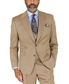 Men's Classic-Fit Taupe with Teal Stripe Suit Separates Jacket