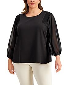 Plus Size Chiffon-Sleeve Blouse