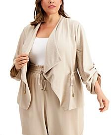Plus Size Flyaway Roll-Sleeve Jacket