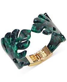 INC Gold-Tone Green Palm Leaf Cuff Bracelet, Created for Macy's