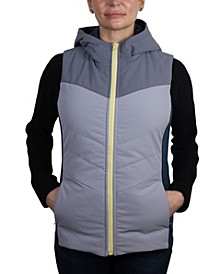 Women's Color Block Light Weight Filled Ripstop Vest with Hood