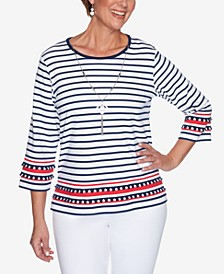 Plus Size Anchor's Away Border Stripe with Necklace Top
