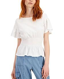 INC Smocked-Waist T-Shirt, Created for Macy's