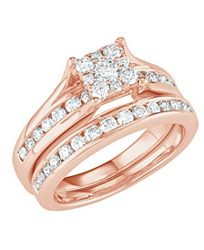 Diamond Cluster Channel-Set Bridal Set (1 ct. t.w.) in 14k White, Yellow or Rose Gold