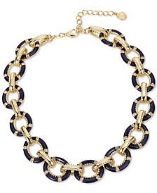 """Gold-Tone Pavé & Color-Coated Circle Collar Necklace, 18"""" + 2"""" extender, Created for Macy's"""