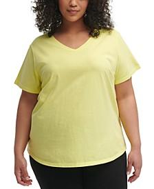 Plus Size Cotton V-Neck Top