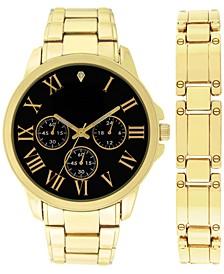 INC Men's Gold-Tone Bracelet Watch 44mm & Bracelet Set, Created for Macy's