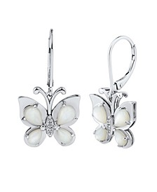 Mother-of-Pearl & White Topaz Accent Butterfly Drop Earrings in Sterling Silver