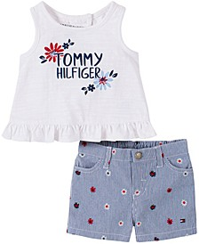 Toddler Girls Back-Wrap Top and Printed Shorts Set, 2-Piece