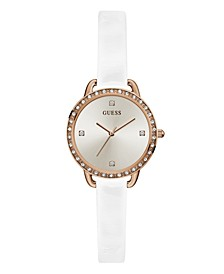 Women's Glitz Rose Gold-Toned White Patent Leather Watch 30mm