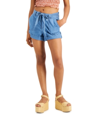 Juniors' Tie-Waist Cotton Shorts