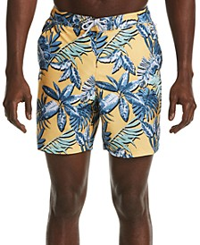"Men's Tropical Leaf-Print 6"" Swim Trunks"