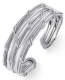 Hudson Stacked Fan Cuff In Sterling Silver