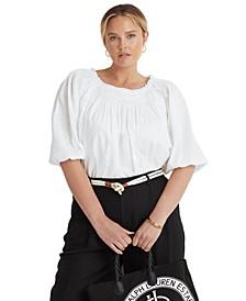 Plus Size Linen-Blend Blouson Sleeve Top