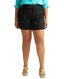 Plus Size Stretch-Infused Paperbag Shorts