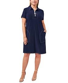 Plus Size Contrast-Stitch Shift Dress