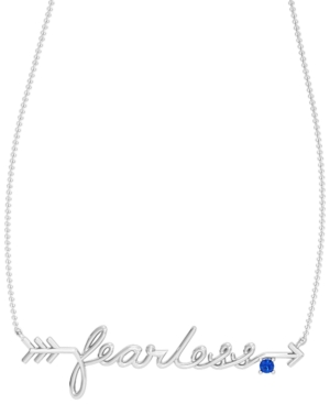 Blue or Pink Sapphire Accent 1/20 ct. t.w. Fearless Necklace in Sterling Silver
