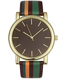 Men's Striped Faux-Leather Strap Watch 42mm, Created for Macy's
