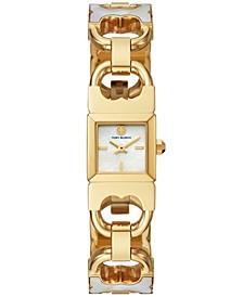 Women's Double T-Link White & Gold-Tone Stainless Steel Bracelet Watch 22mm