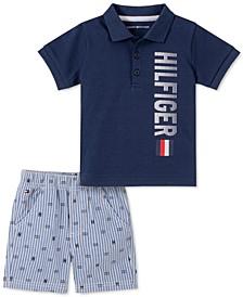 Baby Boys 2-Pc. Logo Polo & Oxford Shorts Set