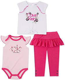 Baby Girls 3-Pc. Tie-Front T-Shirt, Bodysuit & Ruffle Leggings Set