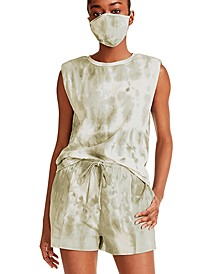 Juniors' Tie-Dye Sleeveless Top & Mask