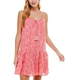 Juniors' Printed Lurex Burnout Dress