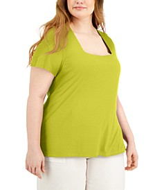 Plus Size Square-Neck Ribbed Top, Created for Macy's