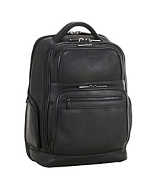"""Full-Grain Colombian Leather 16"""" Laptop Tablet RFID Backpack"""