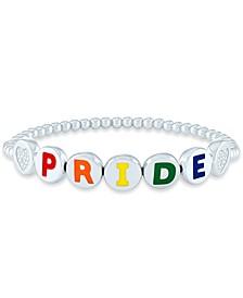 Diamond Accent PRIDE Beaded Bracelet in Sterling Silver