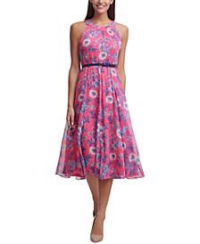 Floral-Chiffon Belted Midi Dress
