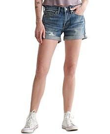 Ripped Cuffed-Hem Shorts