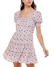 Juniors' Floral-Print Babydoll Dress
