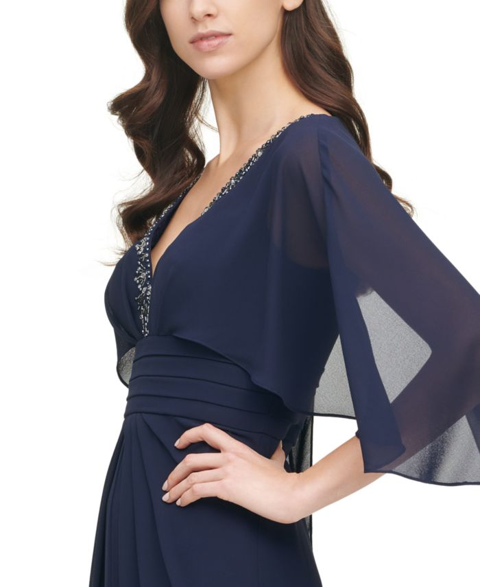 Vince Camuto Embellished-Neck Capelet Gown  & Reviews - Dresses - Women - Macy's
