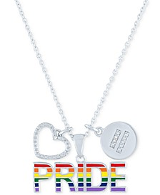 """Diamond Accented Disc, Heart & PRIDE Pendant Necklace in Sterling Silver, 16"""" + 4"""" extender"""