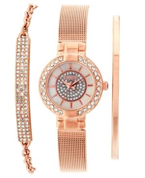 Women's 3 Piece Rose Gold-Tone Mesh Strap Watch and Bracelet Set