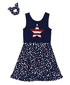 Big Girls Americana All Over Print Tank Dress with Match Back Scrunchie