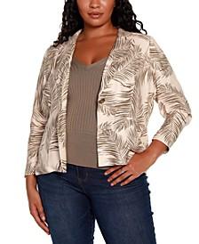 Black Label Plus Size Palm Print Lapel Collar Blazer