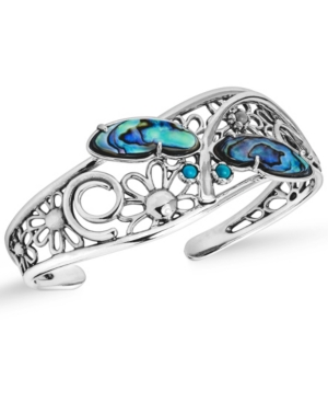 by Carolyn Pollack Abalone and Gemstone Dragonfly Cuff in Sterling Silver