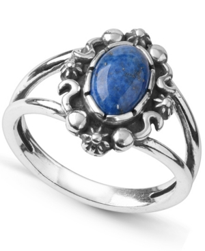 by Carolyn Pollack Sterling Silver Gemstone Oval Ring in Denim Lapis or Green Turquoise
